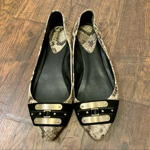 Brian Atwood Leather Snakeskin Pointy Toe Flats 8